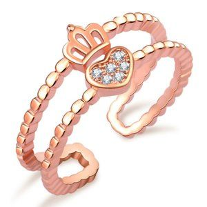 Jewelry - Crown Heart Crystal Rose Gold Ring